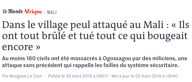 Ogossagou 160 villageois peuls massacrés au Mali