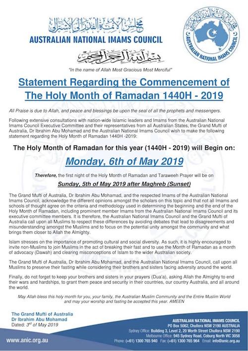 Australie ramadan